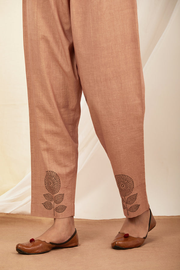 Burnt Pink Handblock Printed Cotton Pant