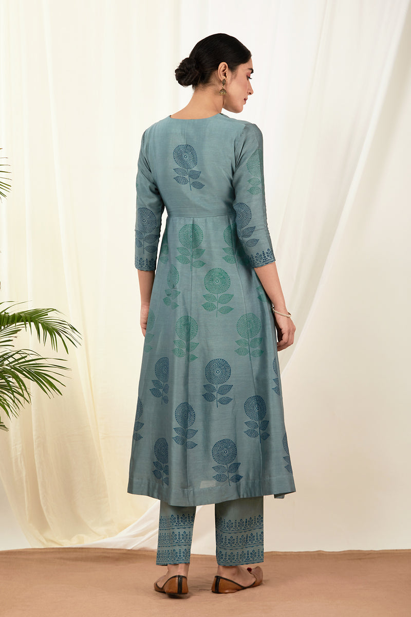 Cobalt Blue Agarkha Set with Dupatta (Set of 3)