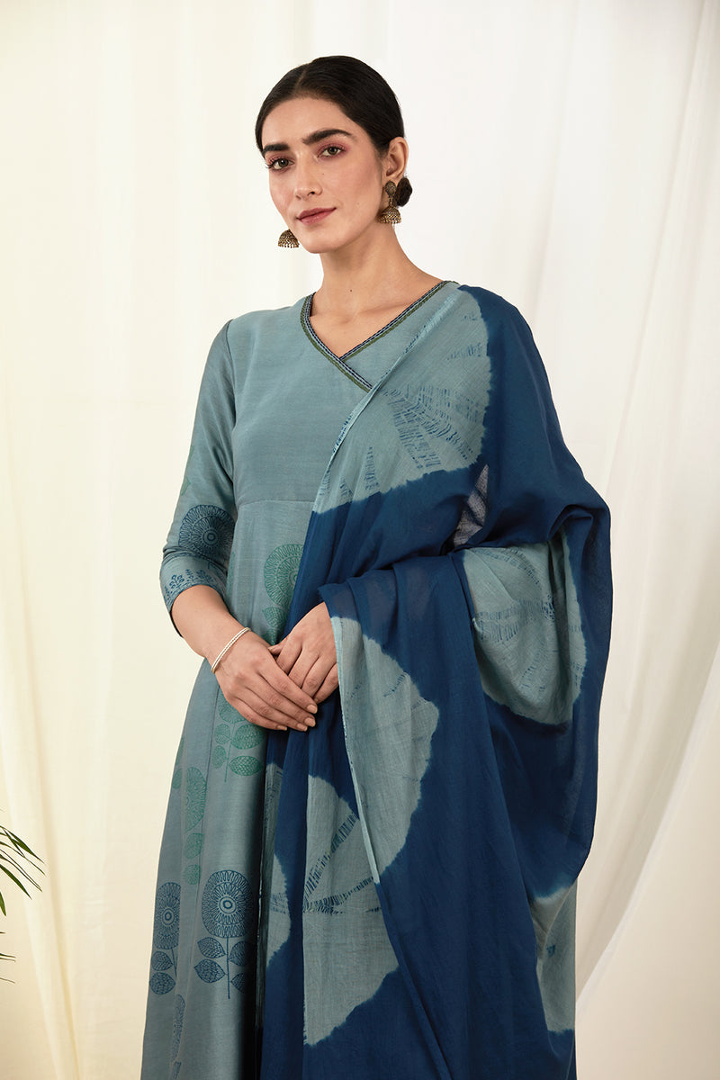Cobalt Blue Angrakha Set with Dupatta (Set of 3)