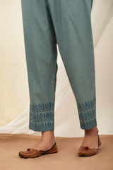 Cobalt Blue Handblock Printed Cotton Pant