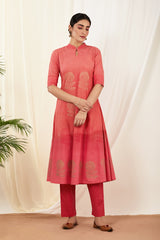 Red Shaded Handblock Printed Kurta & Pant (Set of 2)