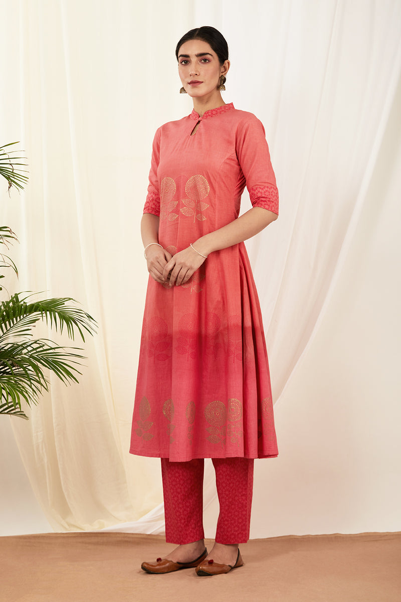 Red Shaded Handblock Printed Cotton Kurta