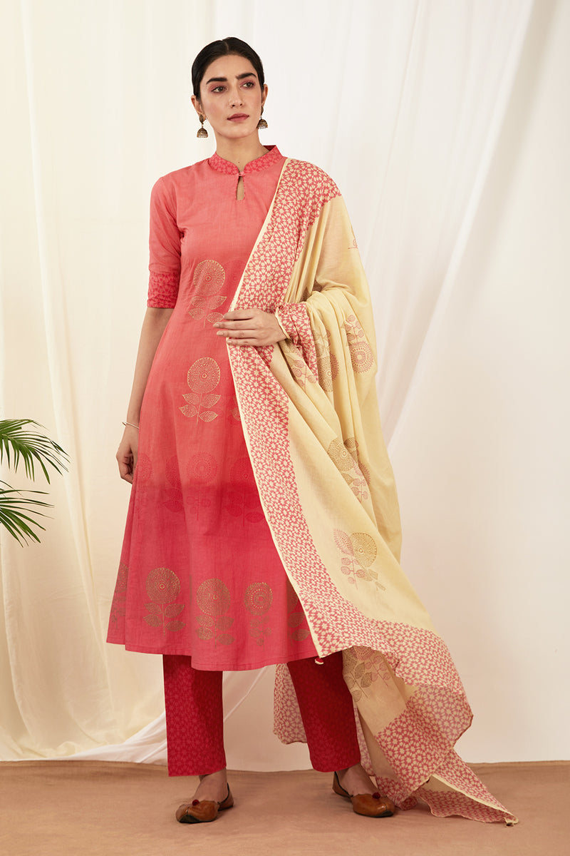Cream Handblock Printed Cotton Dupatta