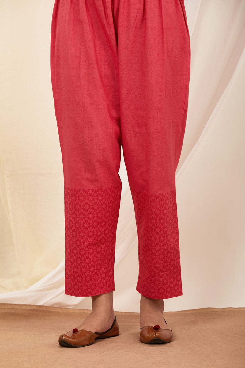 Red Handblock Printed Cotton Pant
