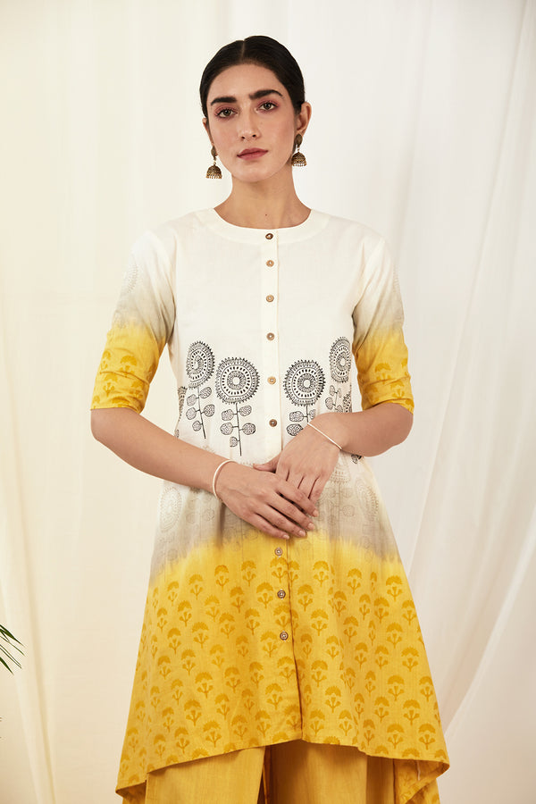 Mustard-Grey Shaded Asymmetrical Cotton Kurta