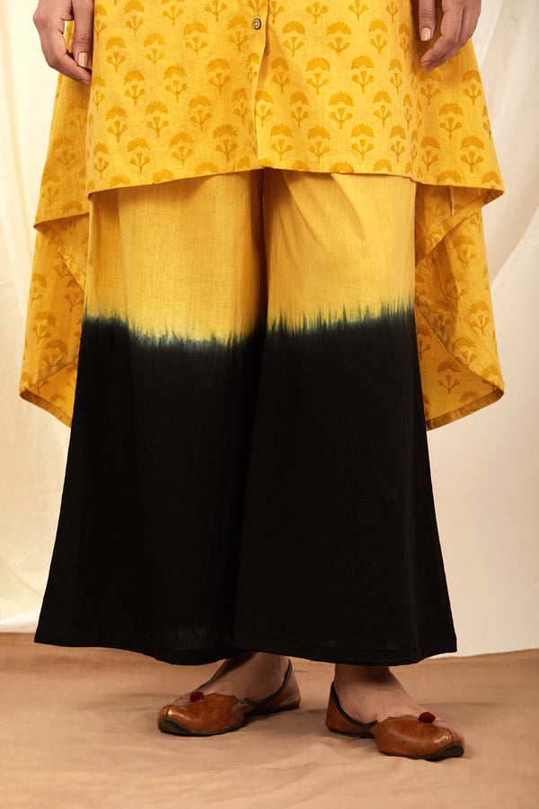 Mustard-Black Shaded Cotton Palazzo
