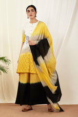 Beige-Black-Mustard Shaded Mulmul Dupatta