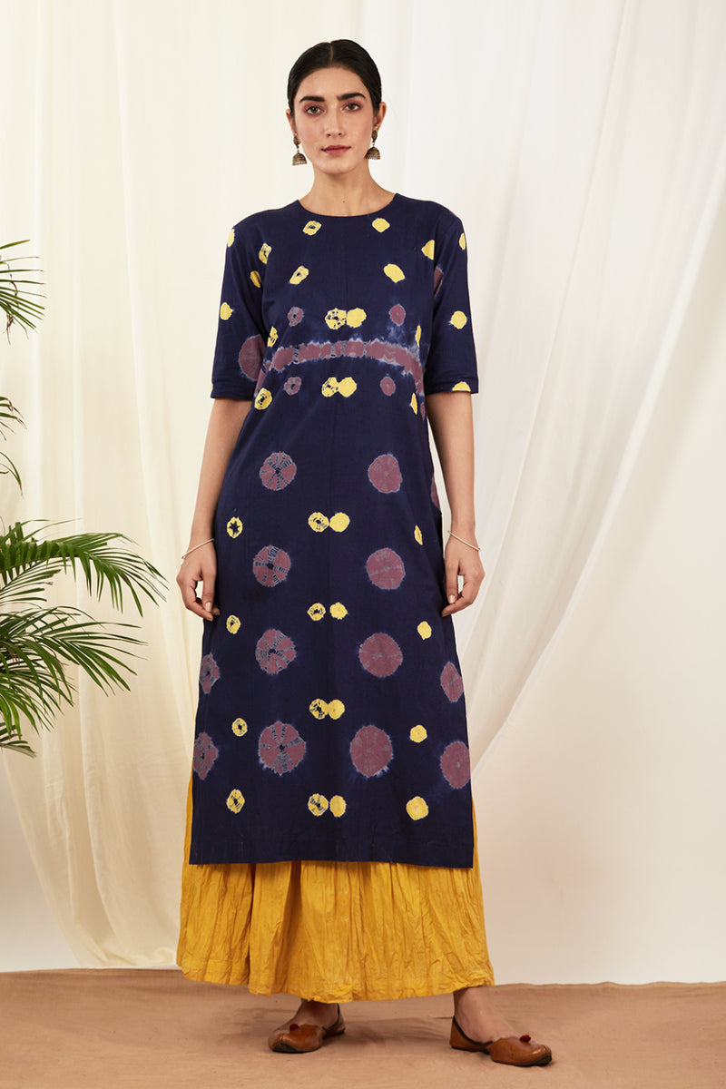 Navy Blue Bandhej Kurta with Mustard Skirt (Set of 2)