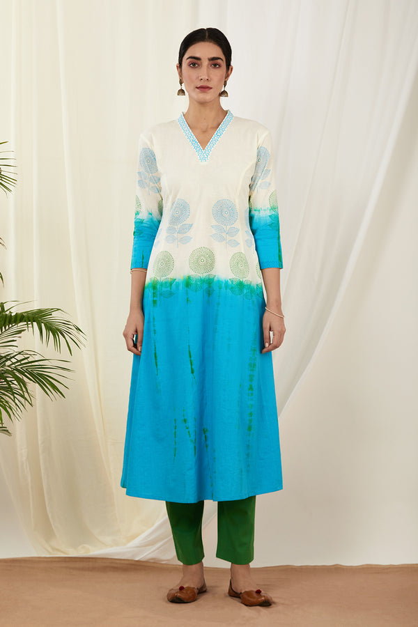 Ivory-Aqua Blue Shaded Cotton Kurta