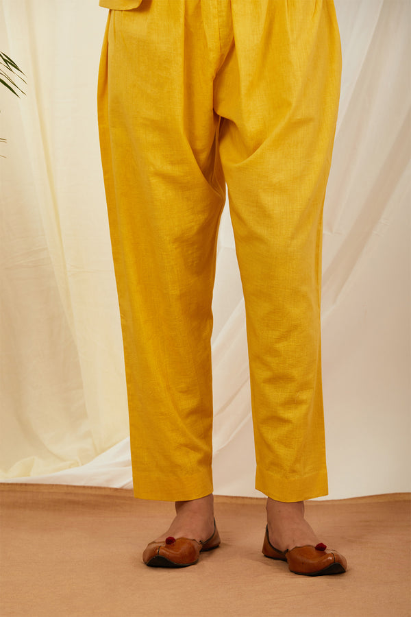 Mustard Solid Cotton Pant