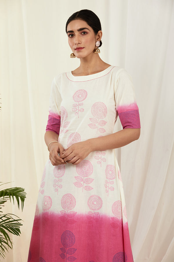 Ivory-Pink Shaded Asymmetrical Cotton Kurta