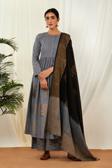 Grey Pintucks Anarkali Set with Dupatta (Set of 3)