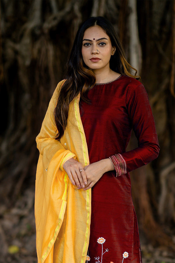 Ruby Raw Silk Bahaar Embroidered Kurta