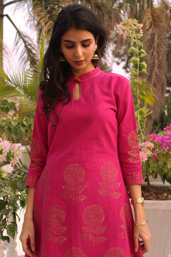 Fuchsia High-Low Kurta