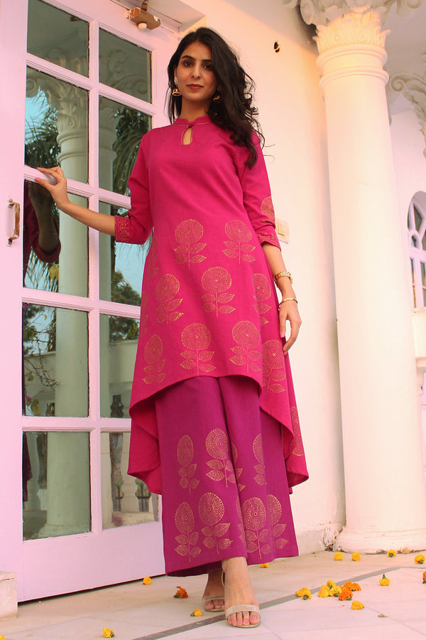 Fuchsia Pink High-Low Kurta Set with Dupatta (Set of 3)