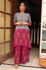 Grey-Pink Ombre Phool Kurta Set with Dupatta (Set of 3)