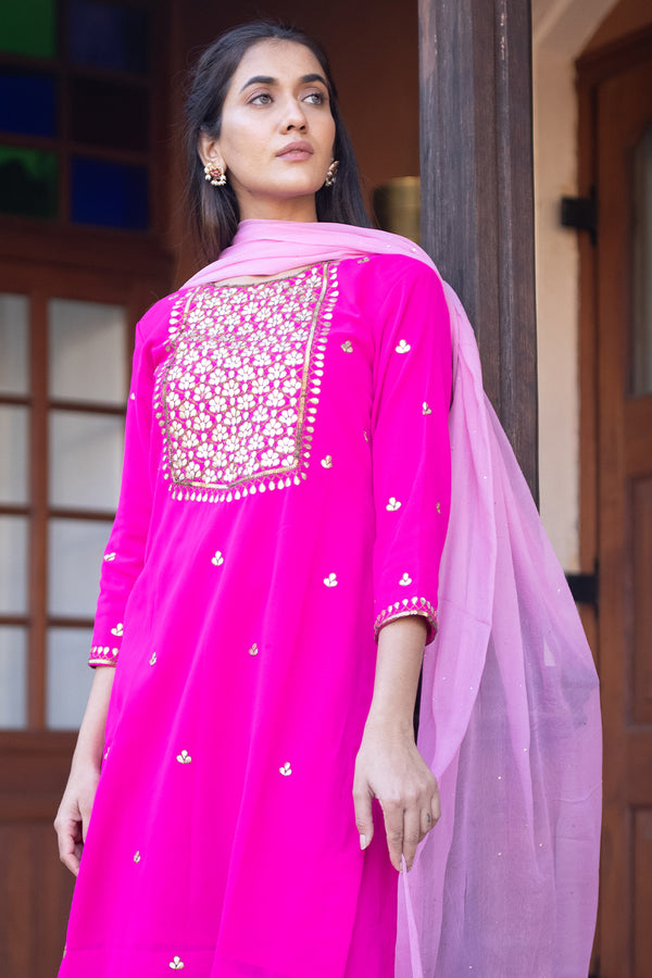 Sidhya Gota Embroidered Georgette Kurta