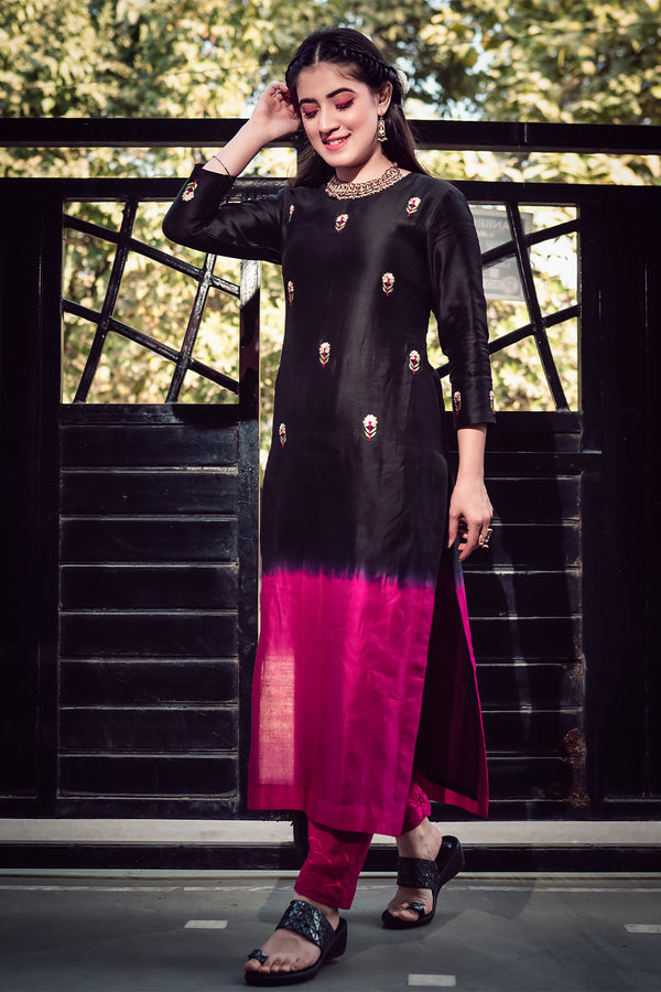 Fuschia-Black Shaded Embroidered Kurta & Pant (Set of 2)