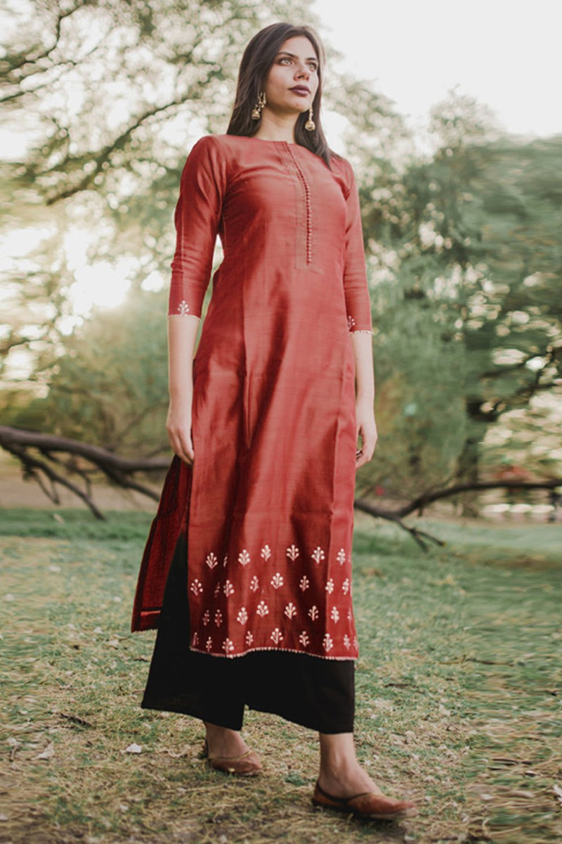 Venetian Red Hand Embroidered Floral Kurta