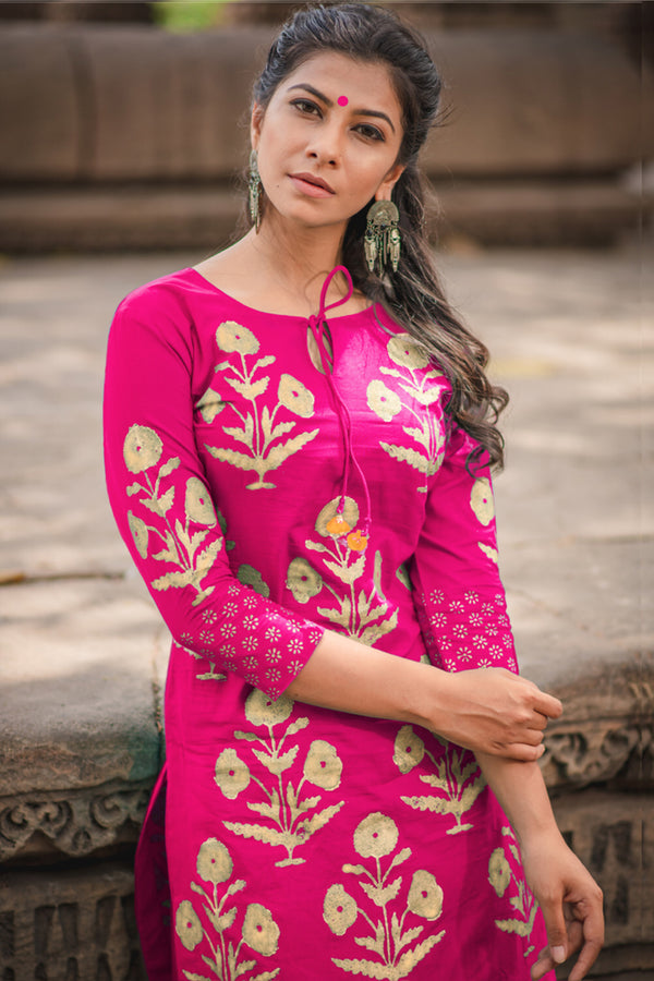 Pink Block Printed Cotton Kurta