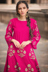 Pink Block Printed A-Line Kurta & Pant (Set of 2)