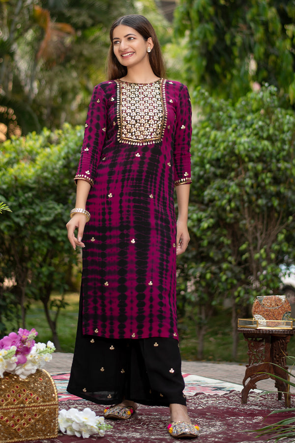 Adra Gota Embroidered Kurta & Palazzo (Set of 2)