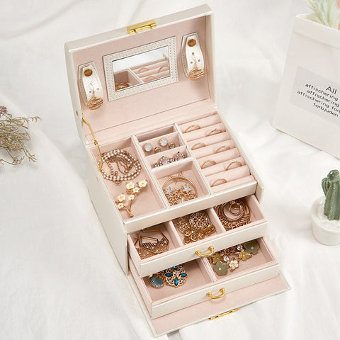 Magic Leather Multi-layer Jewelry Box Drawer - rashamakeup