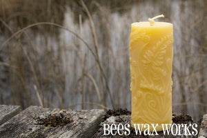 Beeswax Rustic Fern Cylinder Candle