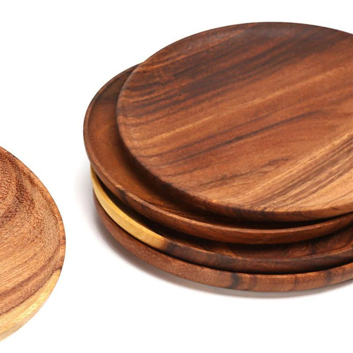 Premium Solid Wood Round Plate - Simple Households