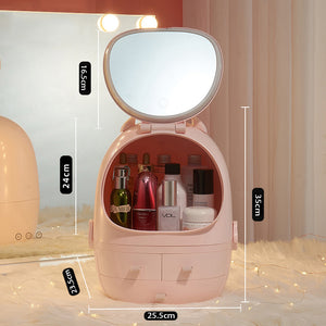 LED HD Mirror Makeup Storage Box Cosmetic