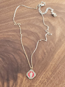 Red Enamel Jesus Olive Branch