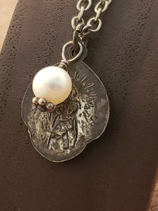 Antique Sterling Scapular with Pearl