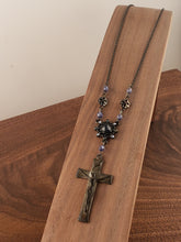 Load image into Gallery viewer, Silver Crucifix Blue Rosary Style Necklace