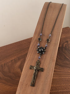 Silver Crucifix Blue Rosary Style Necklace