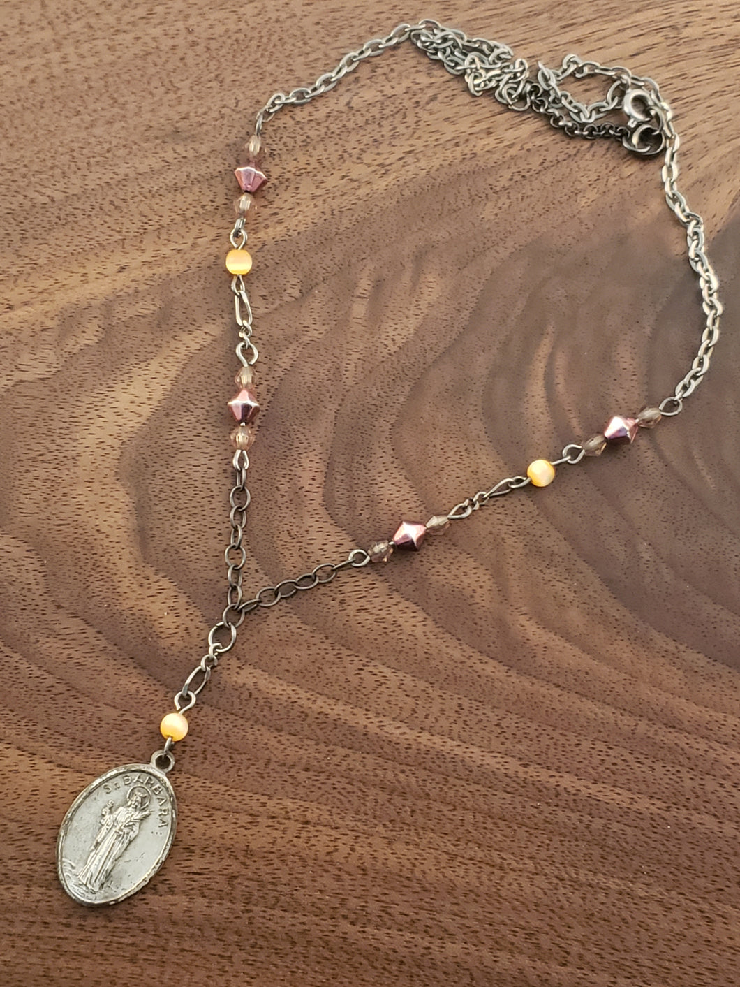Saint Barbra Rosary Style Necklace