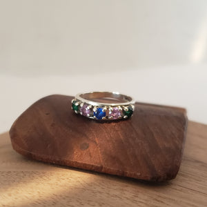 Silver Banded Spinal Ring