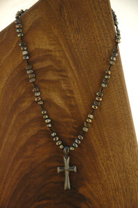 Tahitian Pearl and Silver Cross