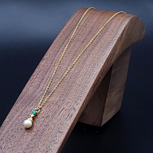 Gold Freshwater Pearl and Emerald