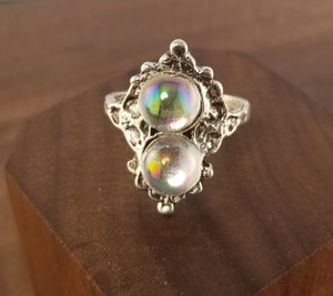 Iridescent Stardust Ring- Art Deco Setting