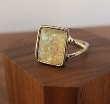 Load image into Gallery viewer, Iridescent White Stardust Ring Bezel Setting
