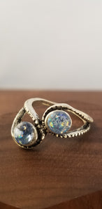 Iridescent Blue Stardust Ring - Tension Setting