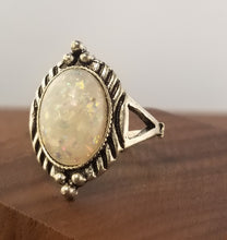 Load image into Gallery viewer, Iridescent White Stardust Statement Ring