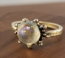 Load image into Gallery viewer, Iridescent White Stardust Ring - Small Starburst Setting