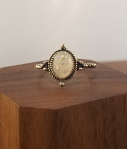 Iridescent White Stardust Ring  - Halo Setting