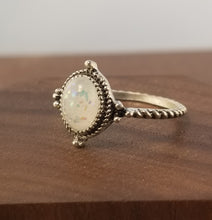 Load image into Gallery viewer, Iridescent White Stardust Ring  - Halo Setting