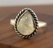 Load image into Gallery viewer, Iridescent White Stardust Ring - Teardrop Setting