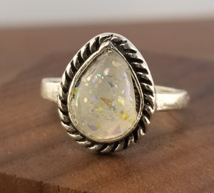 Iridescent White Stardust Ring - Teardrop Setting