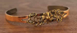Brass and Copper Floral Cuff