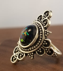 Black Stardust Statement Ring