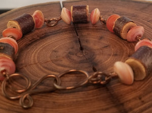 Wood and Sunstone Copper Wire Wrap Bracelet
